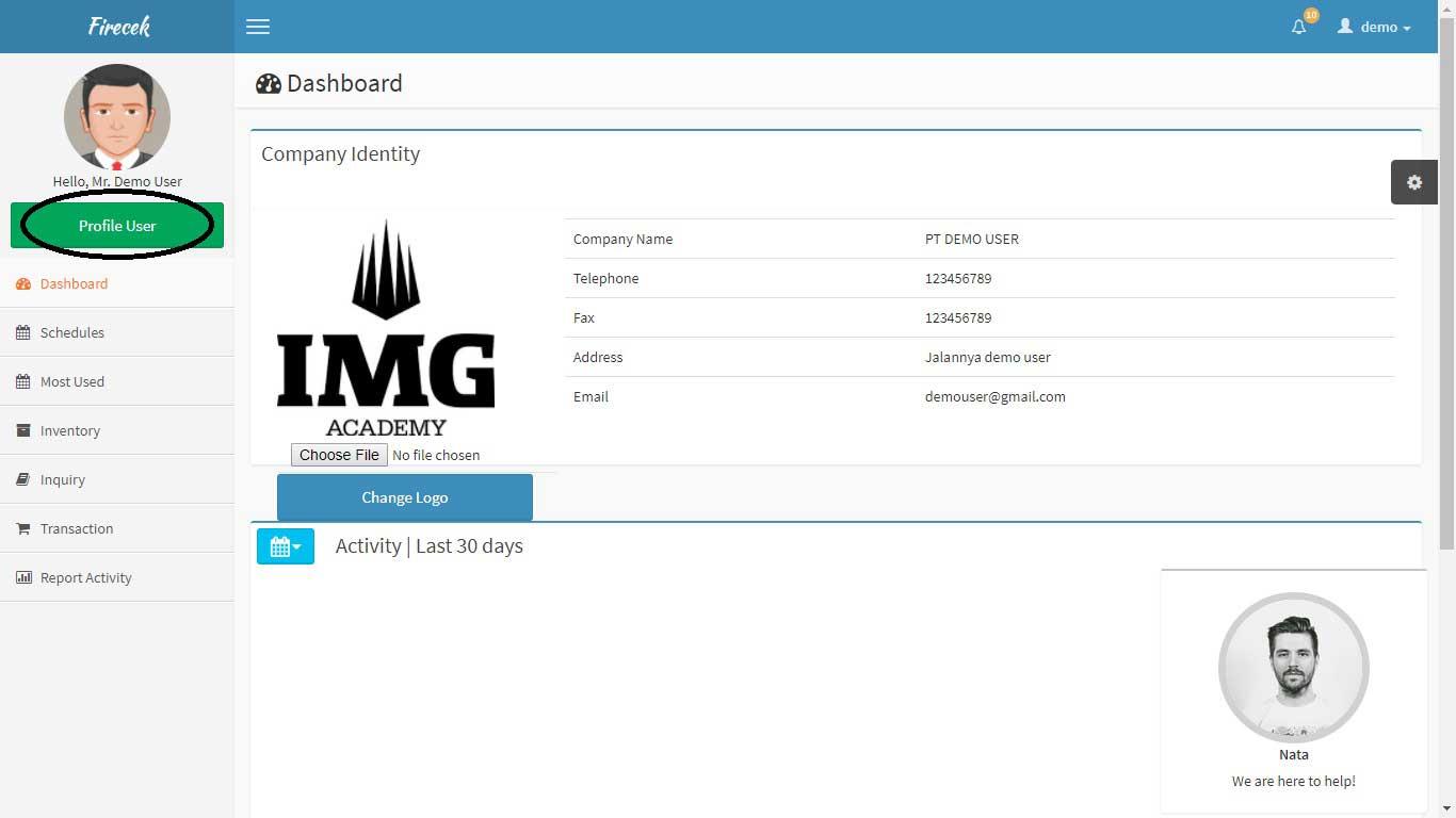 Mengubah Profil User Akun aplikasi firecek